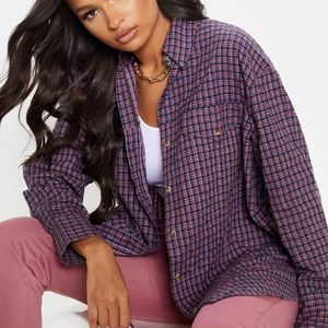 PrettyLittleThing Red Checked Oversized Dad Shirt